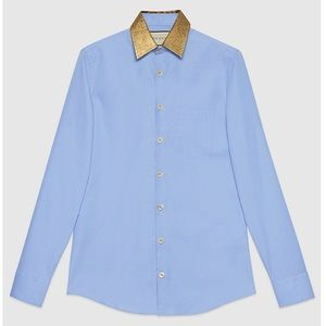 GUCCI Blue Oxford Dress Shirt w/Gold Collar - NWT